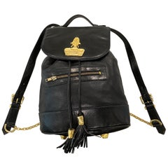 1990s Gemma Kahng Black Leather + Gold Chain Tassel Vintage 90s Backpack Bag
