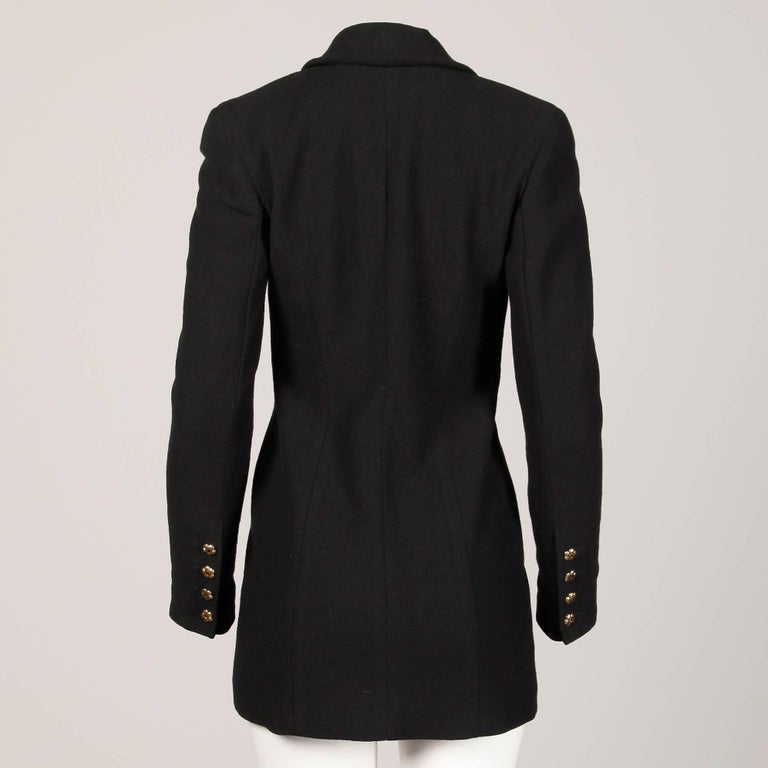 Women's 1990s Gemma Kahng Vintage Black + White Wool Tuxedo Blazer Jacket For Sale