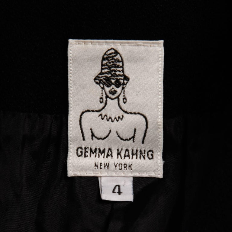 1990s Gemma Kahng Vintage Black + White Wool Tuxedo Blazer Jacket For Sale 1