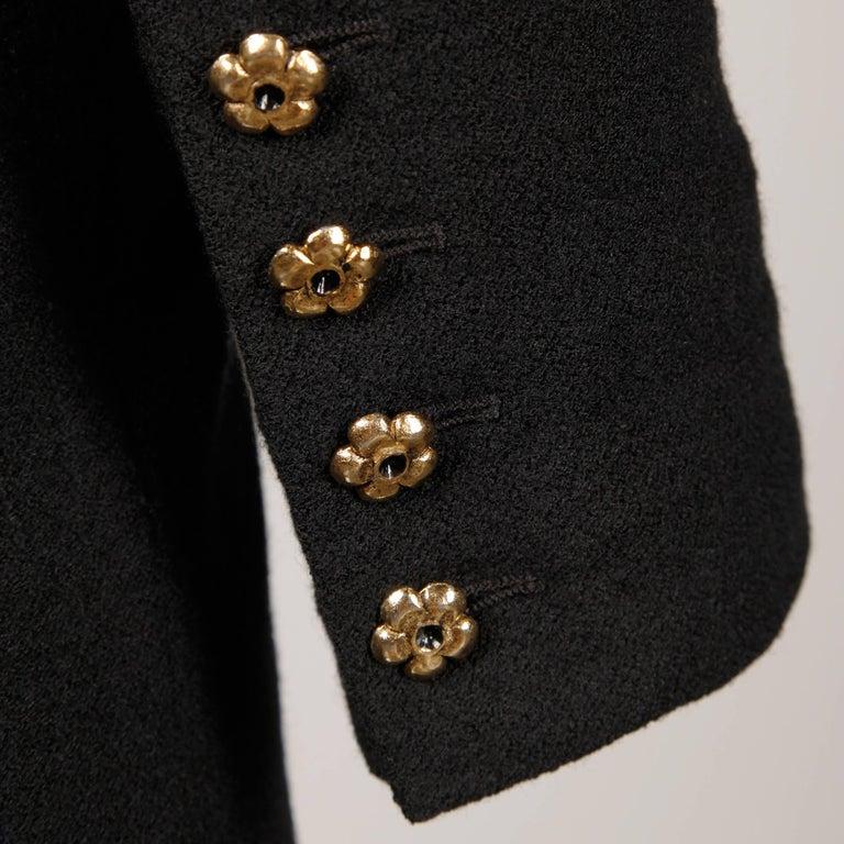 1990s Gemma Kahng Vintage Black + White Wool Tuxedo Blazer Jacket For Sale 3