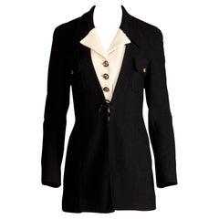1990s Gemma Kahng Vintage Black + White Wool Tuxedo Blazer Jacket