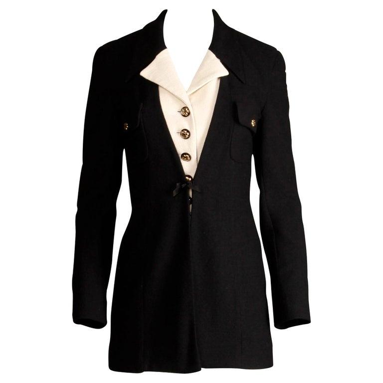 1990s Gemma Kahng Vintage Black + White Wool Tuxedo Blazer Jacket For Sale