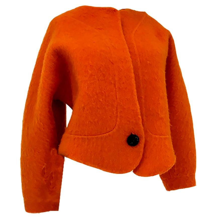 1990s Geoffery Beene Bright Orange Mohair Jacket - Cropped