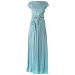 1990S Geoffrey Beene Baby Blue Silk Jersey Minimalist Gown
