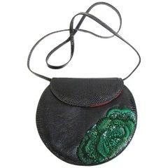 1990s Geoffrey Beene Black Lizard Purse with Beaded Emerald Green Embroidery