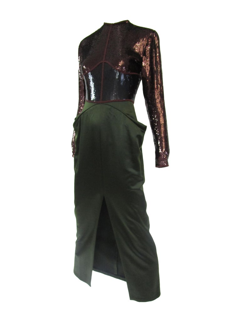 Red 1990s Geoffrey Beene Burgundy and Green Satin Sequined Cocktail Dress  For Sale