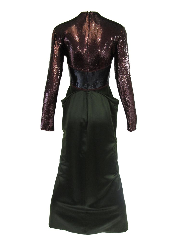 Women's 1990s Geoffrey Beene Burgundy and Green Satin Sequined Cocktail Dress  For Sale