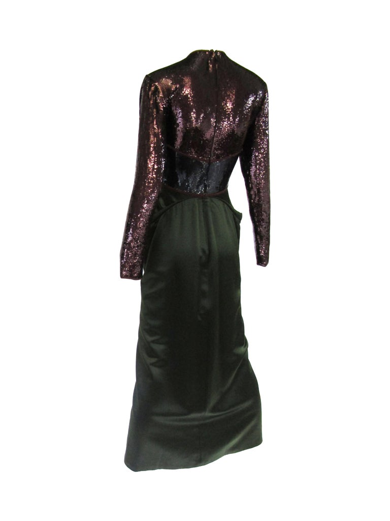 1990s Geoffrey Beene Burgundy and Green Satin Sequined Cocktail Dress  For Sale 1