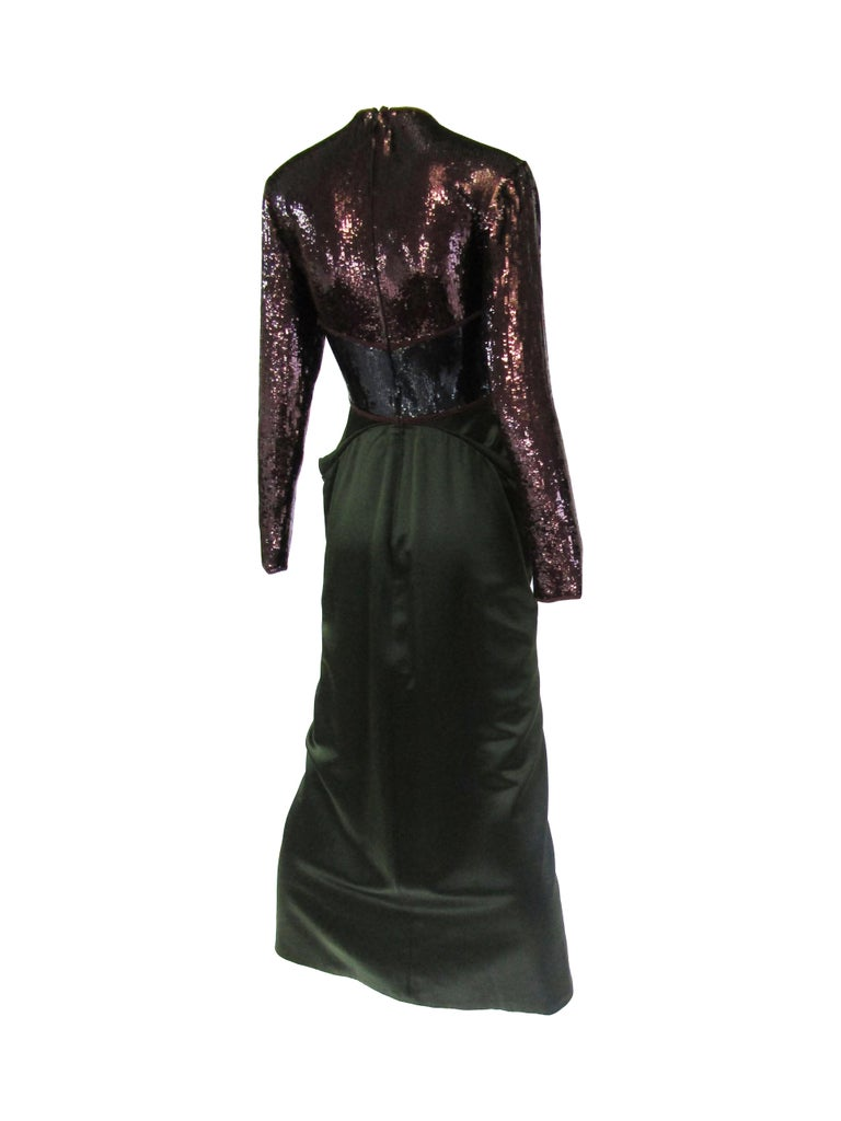 1990s Geoffrey Beene Burgundy and Green Satin Sequined Cocktail Dress  For Sale 2