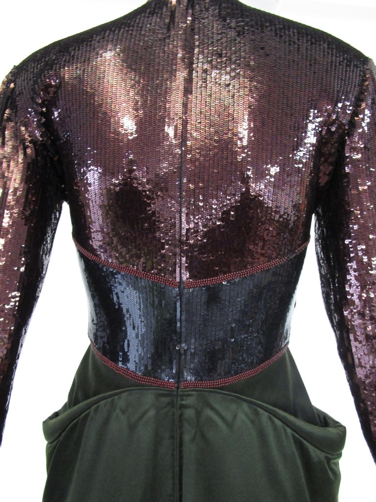 1990s Geoffrey Beene Burgundy and Green Satin Sequined Cocktail Dress  For Sale 3