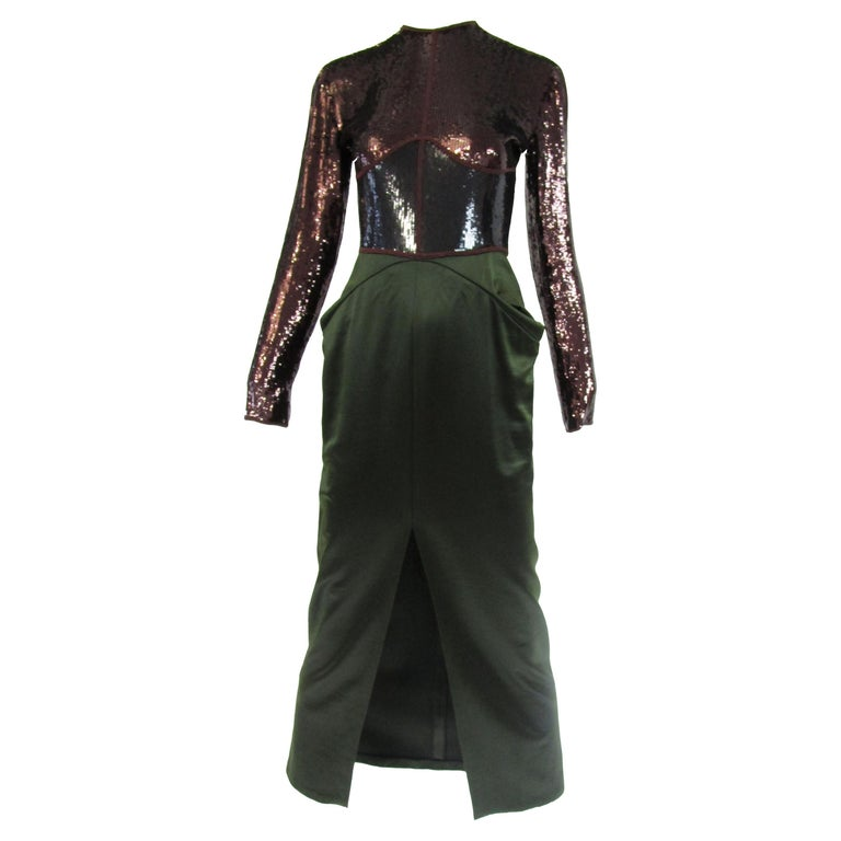 1990s Geoffrey Beene Burgundy and Green Satin Sequined Cocktail Dress  For Sale