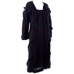 1990s Geoffrey Beene Vintage Black Alpaca Dress and Coat Ensemble