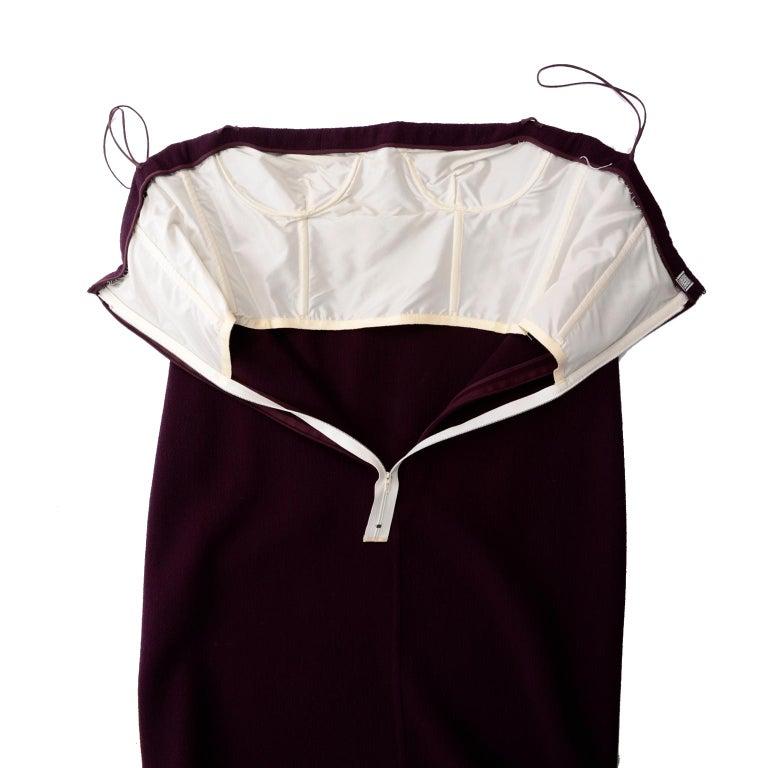 1990s Geoffrey Beene Vintage Burgundy Alpaca Coat W Matching Strapless Dress For Sale 6