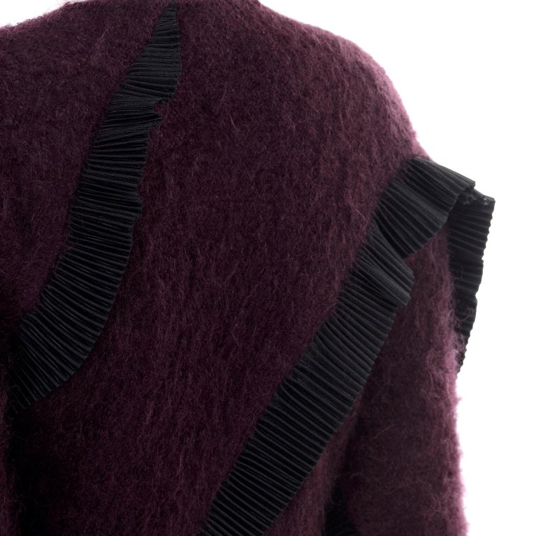 1990s Geoffrey Beene Vintage Burgundy Alpaca Coat W Matching Strapless Dress For Sale 7