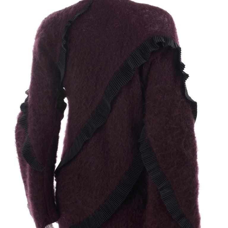 1990s Geoffrey Beene Vintage Burgundy Alpaca Coat W Matching Strapless Dress For Sale 8