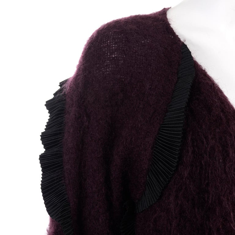 1990s Geoffrey Beene Vintage Burgundy Alpaca Coat W Matching Strapless Dress For Sale 9