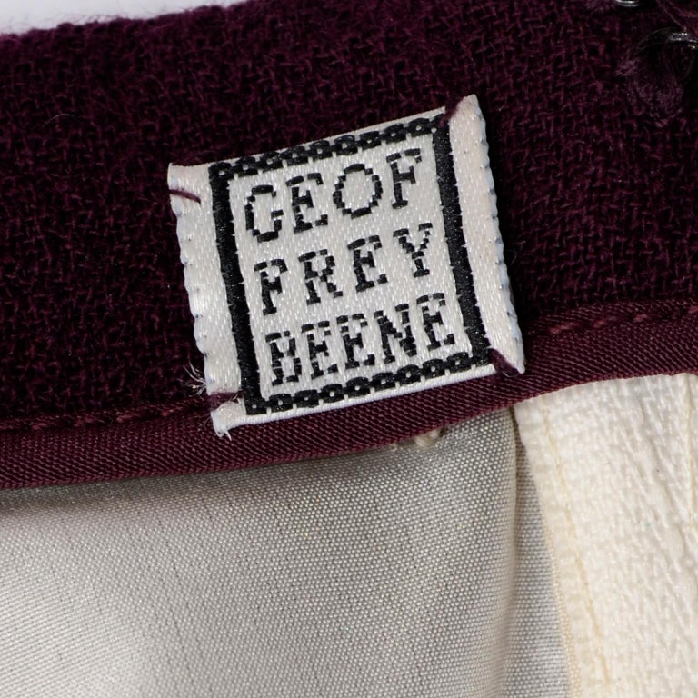 1990s Geoffrey Beene Vintage Burgundy Alpaca Coat W Matching Strapless Dress For Sale 11