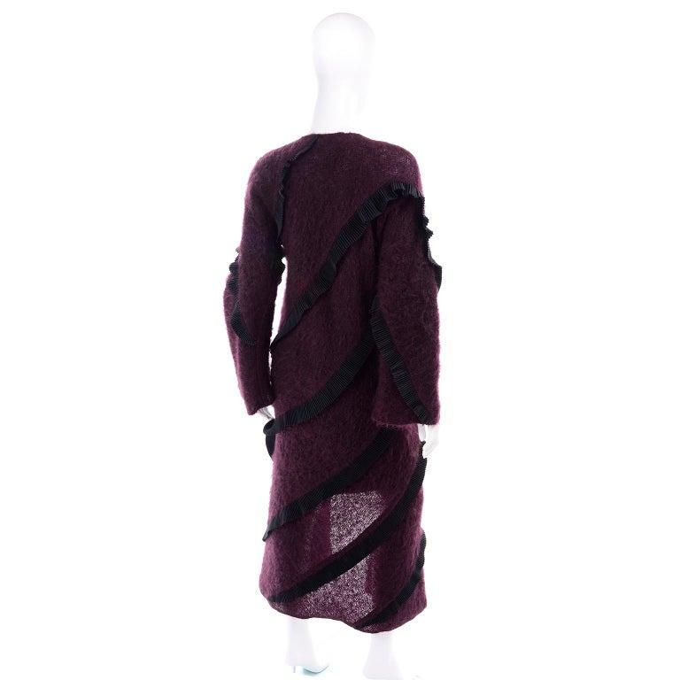 1990s Geoffrey Beene Vintage Burgundy Alpaca Coat W Matching Strapless Dress For Sale 1