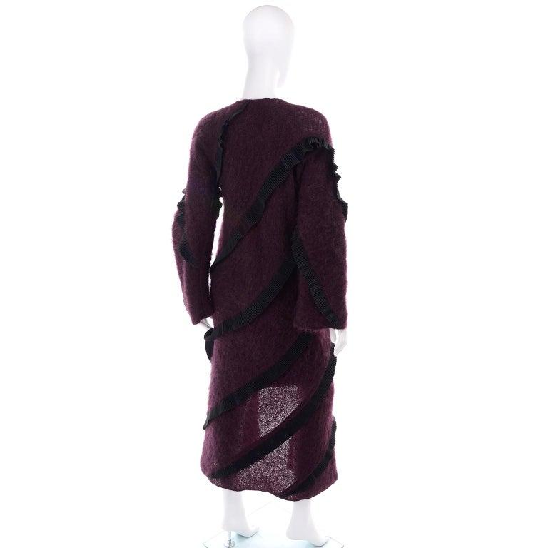 1990s Geoffrey Beene Vintage Burgundy Alpaca Coat W Matching Strapless Dress For Sale 2