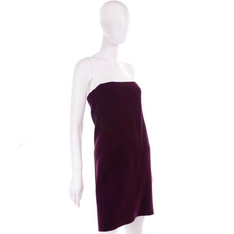 1990s Geoffrey Beene Vintage Burgundy Alpaca Coat W Matching Strapless Dress For Sale 3
