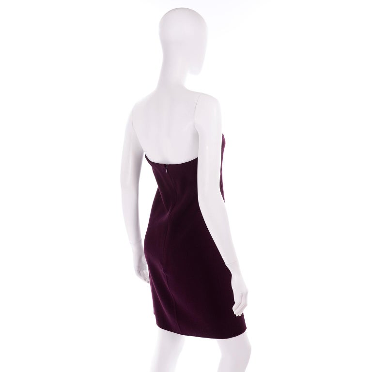 1990s Geoffrey Beene Vintage Burgundy Alpaca Coat W Matching Strapless Dress For Sale 4