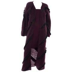 1990s Geoffrey Beene Vintage Burgundy Alpaca Coat W Matching Strapless Dress