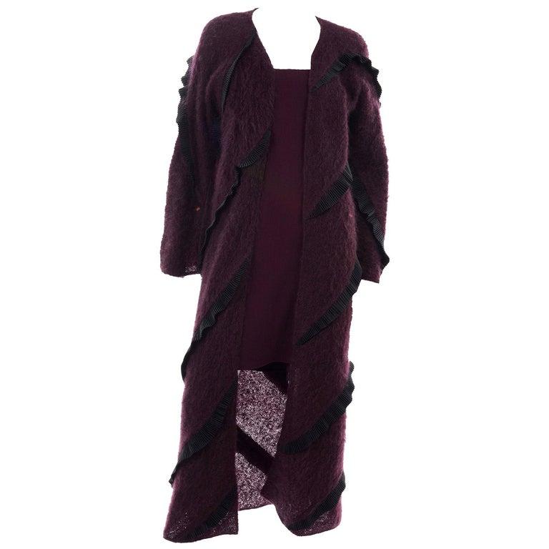1990s Geoffrey Beene Vintage Burgundy Alpaca Coat W Matching Strapless Dress For Sale