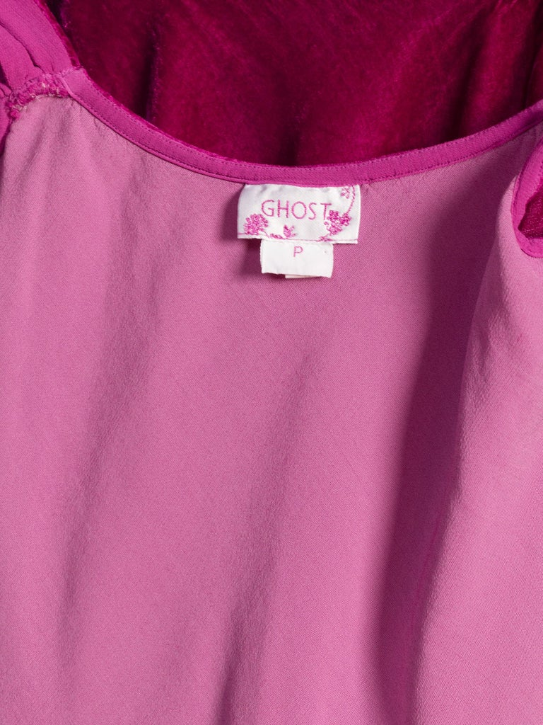1990s Ghost Bias Cut Galliano Style Pink Velvet Top For Sale 6
