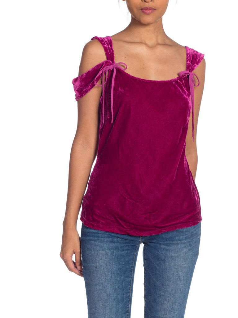 1990s Ghost Bias Cut Galliano Style Pink Velvet Top For Sale 9