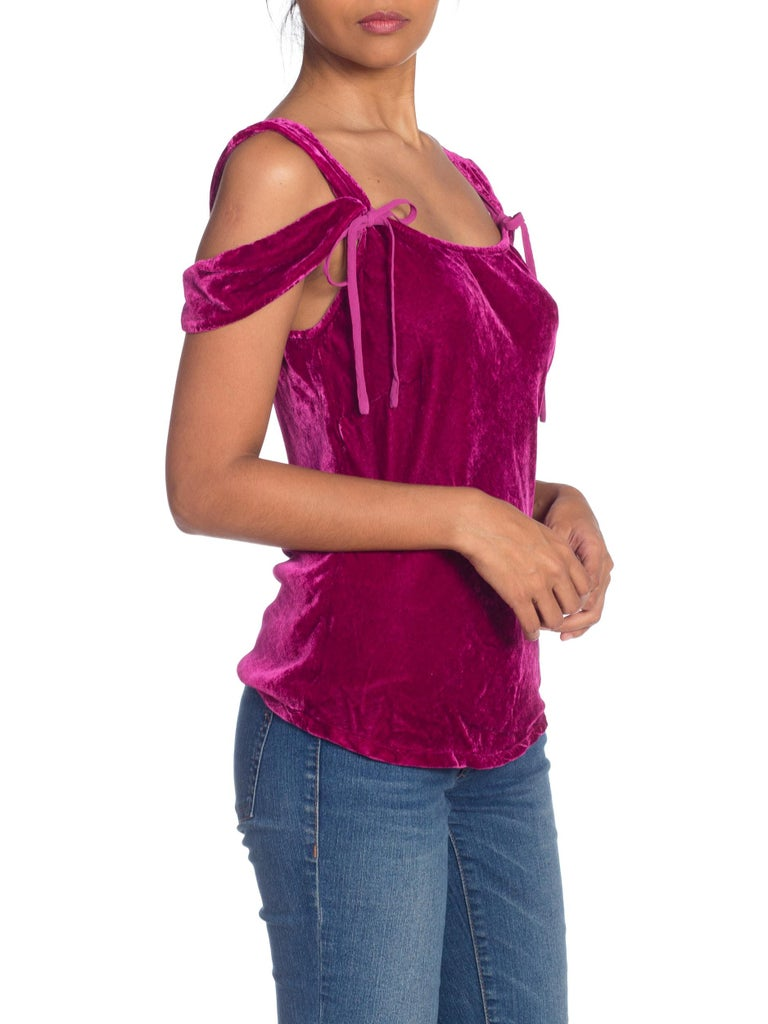 Women's 1990s Ghost Bias Cut Galliano Style Pink Velvet Top For Sale