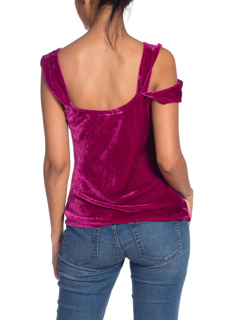1990s Ghost Bias Cut Galliano Style Pink Velvet Top For Sale 2