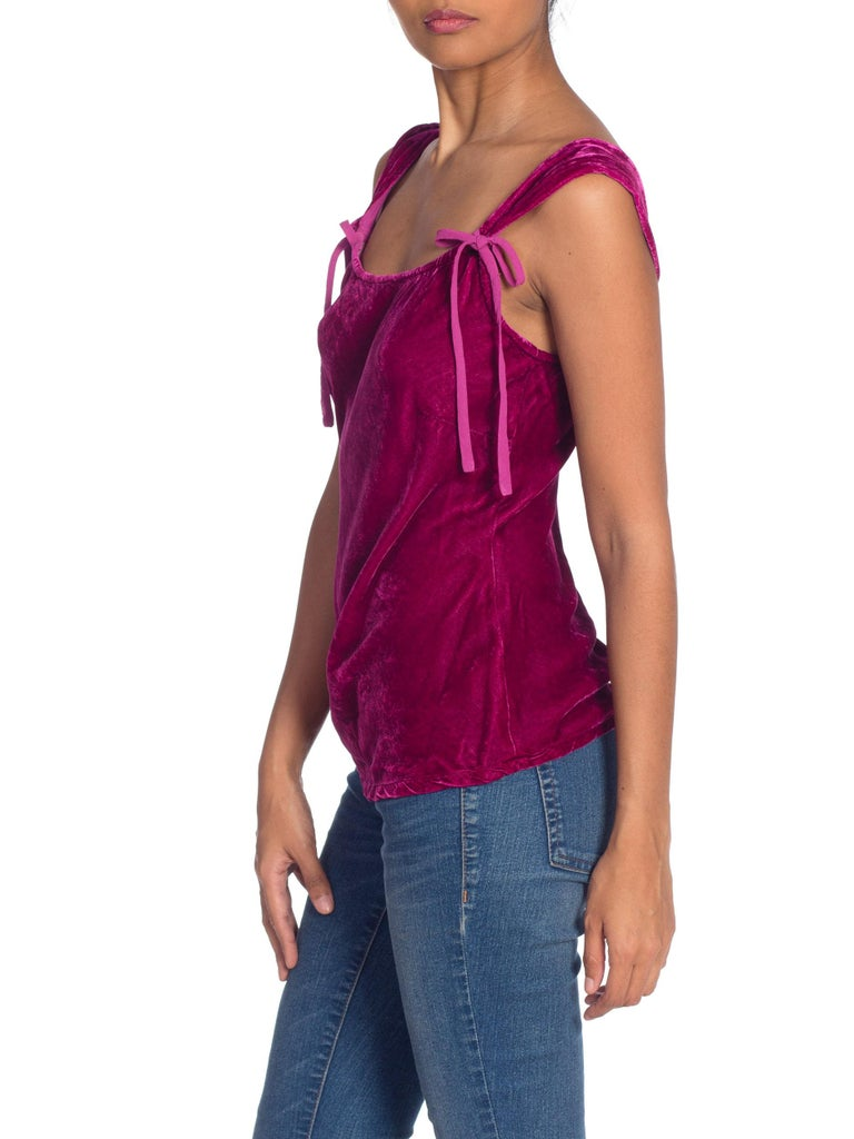 1990s Ghost Bias Cut Galliano Style Pink Velvet Top For Sale 4