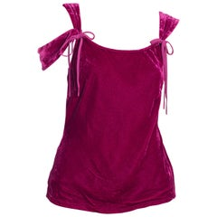1990s Ghost Bias Cut Galliano Style Pink Velvet Top