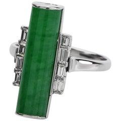 1990s GIA Jade Diamond Platinum Bar Cocktail Ring
