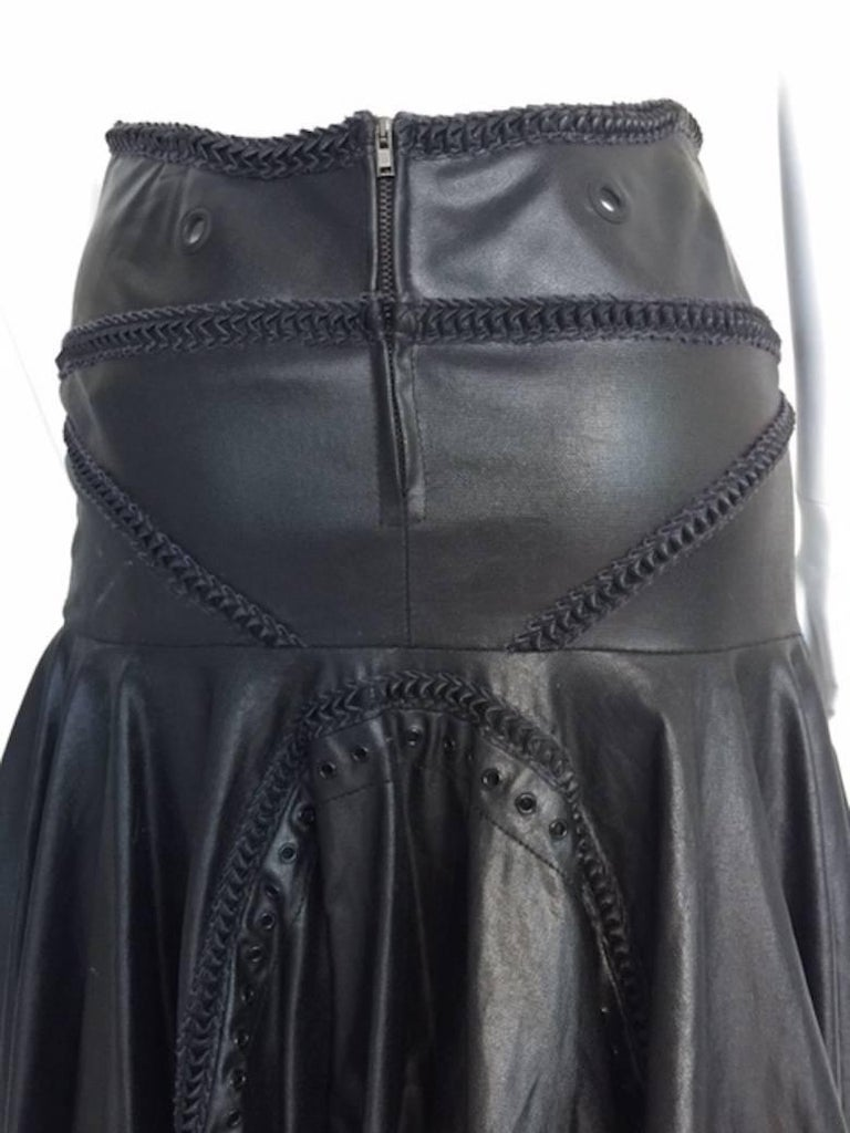 1990s Gianfranco Ferrè Black Eco Leather Evening Long Skirts For Sale 3