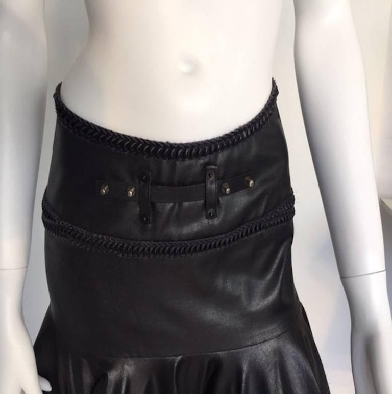 1990s Gianfranco Ferrè Black Eco Leather Evening Long Skirts For Sale 4