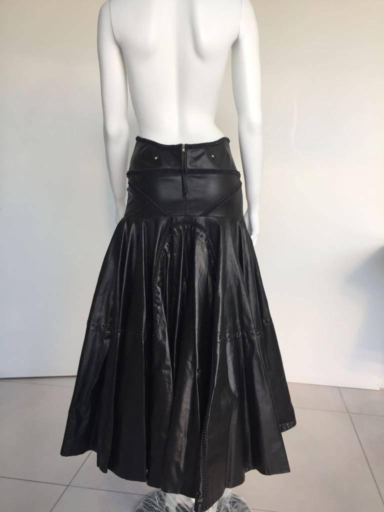 Women's 1990s Gianfranco Ferrè Black Eco Leather Evening Long Skirts For Sale