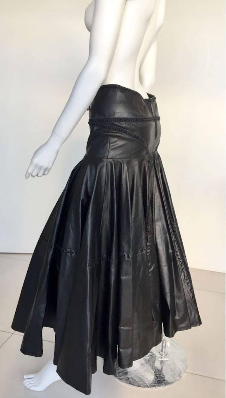 1990s Gianfranco Ferrè Black Eco Leather Evening Long Skirts For Sale 1