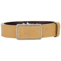 1990s Gianfranco Ferré Beige Leather Belt