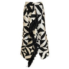 1990s Gianfranco Ferre Black and White Graphic Print Silk Skirt