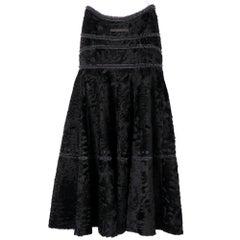 1990s Gianfranco Ferrè Black Astrakhan Fur Skirt