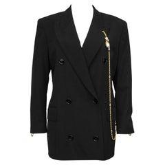 1990s Gianfranco Ferre Black Blazer with Baroque Pearl & Gold Chain