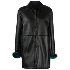 1990s Gianfranco Ferré Black Leather and Faux Fur Coat