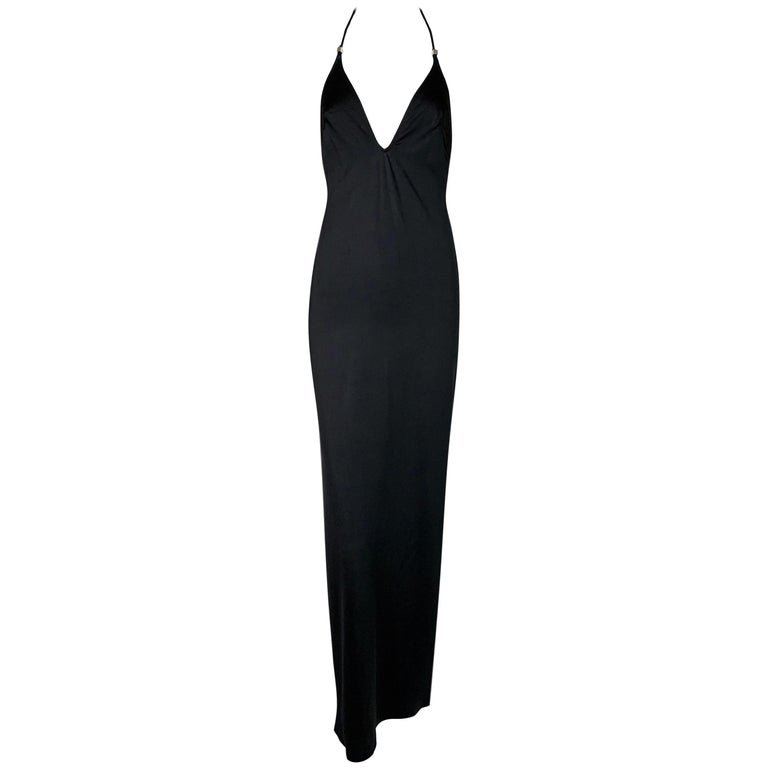 1990's Gianfranco Ferre Black Plunging Metal Logo Circle Long Black Gown Dress For Sale