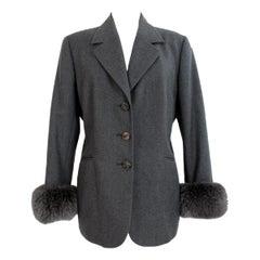 1990s Gianfranco Ferre Gray Oversize Fur Wool Vintage Jacket