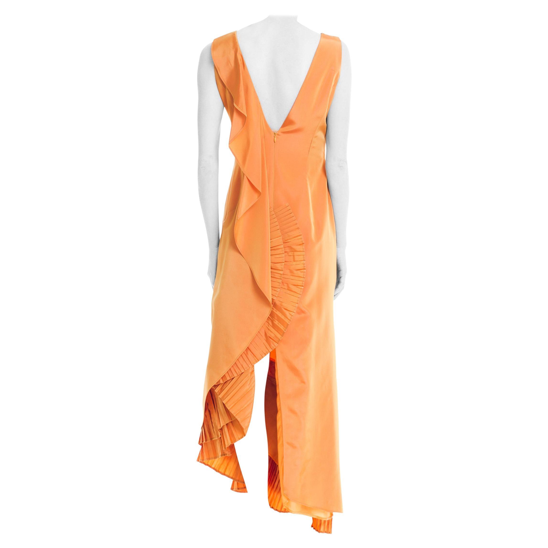 1990S GIANFRANCO FERRE Light Orange Irridescent Acetate Taffeta Gown With Drama