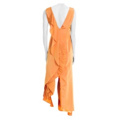 1990S GIANFRANCO FERRE Light Orange Irridescent Acetate Taffeta Gown With Drama