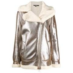 1990s Gianfranco Ferré Metalized Short Sheepskin Coat