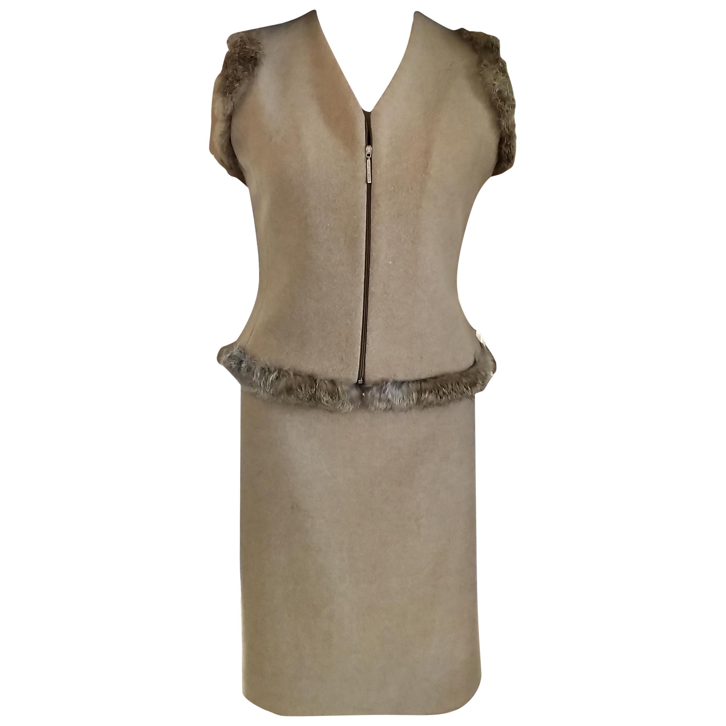 1990's GianFranco Ferre Nude-Beige 100% Mink Vest A Line Skirt Suit IT 40/ 2 4