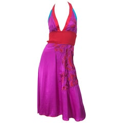 1990s Gianfranco Ferre Sexy Embroidered Hot Pink Red Blue Vintage Halter Dress